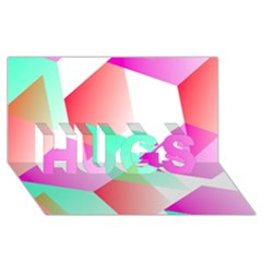 Geometric 03 Pink Hugs 3d Greeting Card (8x4)