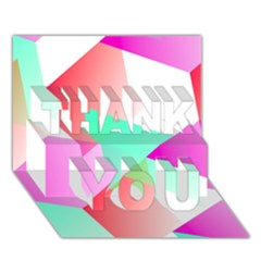 Geometric 03 Pink Thank You 3d Greeting Card (7x5)