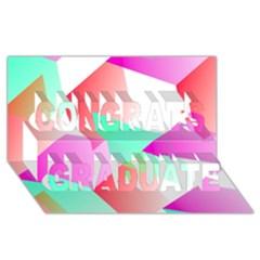 Geometric 03 Pink Congrats Graduate 3d Greeting Card (8x4)  by MoreColorsinLife