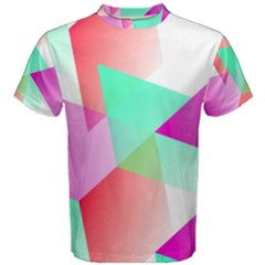 Geometric 03 Pink Men s Cotton Tees by MoreColorsinLife