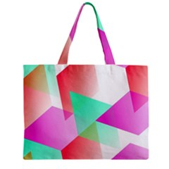 Geometric 03 Pink Zipper Tiny Tote Bags by MoreColorsinLife