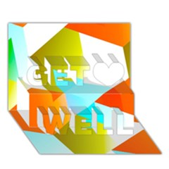 Geometric 03 Orange Get Well 3d Greeting Card (7x5)  by MoreColorsinLife