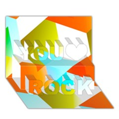 Geometric 03 Orange You Rock 3d Greeting Card (7x5)