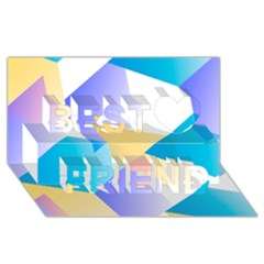 Geometric 03 Blue Best Friends 3d Greeting Card (8x4)