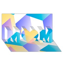 Geometric 03 Blue Mom 3d Greeting Card (8x4)  by MoreColorsinLife
