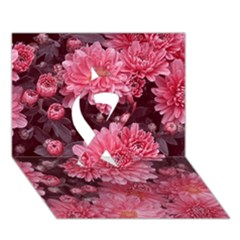 Awesome Flowers Red Ribbon 3d Greeting Card (7x5)  by MoreColorsinLife