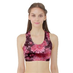 Awesome Flowers Red Women s Sports Bra With Border by MoreColorsinLife