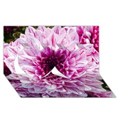 Wonderful Flowers Twin Hearts 3d Greeting Card (8x4)