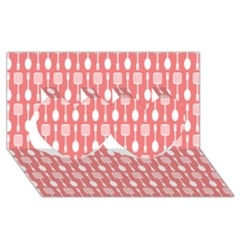 Coral And White Kitchen Utensils Pattern Twin Hearts 3d Greeting Card (8x4)