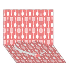 Coral And White Kitchen Utensils Pattern Heart Bottom 3d Greeting Card (7x5)