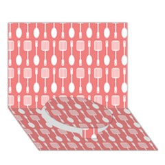 Coral And White Kitchen Utensils Pattern Circle Bottom 3d Greeting Card (7x5)