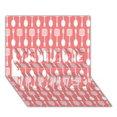 Coral And White Kitchen Utensils Pattern YOU ARE INVITED 3D Greeting Card (7x5)  by creativemom