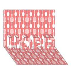 Coral And White Kitchen Utensils Pattern Hope 3d Greeting Card (7x5)  by creativemom