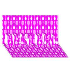 Purple Spatula Spoon Pattern Best Bro 3d Greeting Card (8x4)