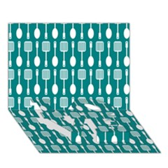 Teal And White Spatula Spoon Pattern Love Bottom 3d Greeting Card (7x5)