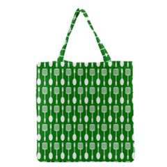 Green And White Kitchen Utensils Pattern Grocery Tote Bags by creativemom