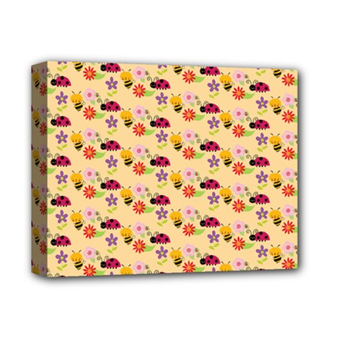 Colorful Ladybug Bess And Flowers Pattern Deluxe Canvas 14  X 11  by creativemom