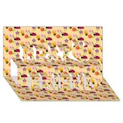 Colorful Ladybug Bess And Flowers Pattern Best Friends 3d Greeting Card (8x4)
