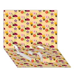 Colorful Ladybug Bess And Flowers Pattern Love Bottom 3d Greeting Card (7x5)