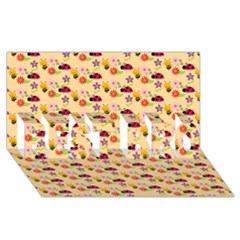 Colorful Ladybug Bess And Flowers Pattern Best Bro 3d Greeting Card (8x4)