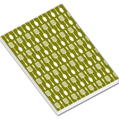 Olive Green Spatula Spoon Pattern Large Memo Pads by creativemom