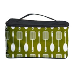 Olive Green Spatula Spoon Pattern Cosmetic Storage Cases by creativemom