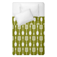 Olive Green Spatula Spoon Pattern Duvet Cover (single Size) by creativemom