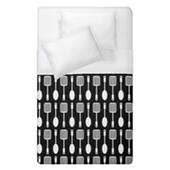 Black And White Spatula Spoon Pattern Duvet Cover Single Side (single Size) by creativemom