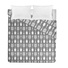 Gray And White Kitchen Utensils Pattern Duvet Cover (Twin Size) by creativemom