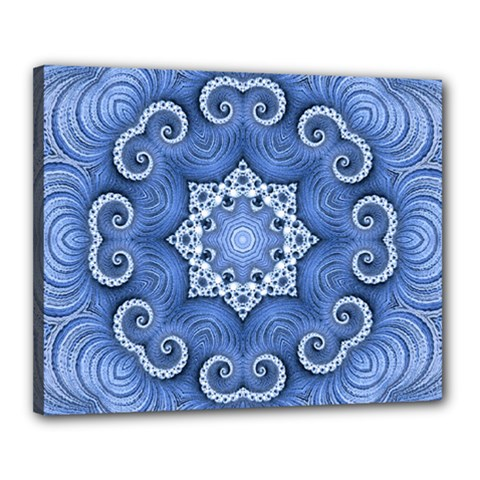 Awesome Kaleido 07 Blue Canvas 20  X 16  by MoreColorsinLife