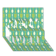 Spatula Spoon Pattern Get Well 3d Greeting Card (7x5)