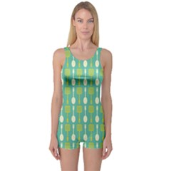 Spatula Spoon Pattern Women s Boyleg One Piece Swimsuits