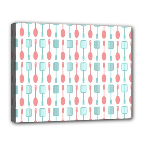 Spatula Spoon Pattern Canvas 14  X 11  by creativemom
