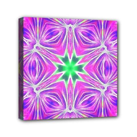 Kaleido Art, Pink Fractal Mini Canvas 6  X 6  by MoreColorsinLife