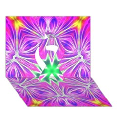 Kaleido Art, Pink Fractal Ribbon 3d Greeting Card (7x5)