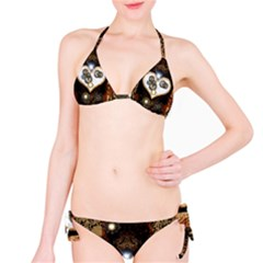 Steampunk, Awesome Heart With Clocks And Gears Bikini Set by FantasyWorld7