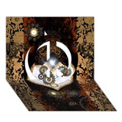 Steampunk, Awesome Heart With Clocks And Gears Peace Sign 3d Greeting Card (7x5)