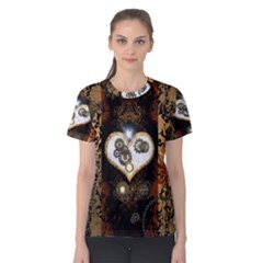 Steampunk, Awesome Heart With Clocks And Gears Women s Cotton Tees