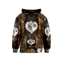 Steampunk, Awesome Heart With Clocks And Gears Kids Zipper Hoodies by FantasyWorld7