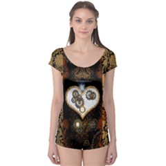 Steampunk, Awesome Heart With Clocks And Gears Short Sleeve Leotard by FantasyWorld7