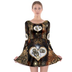 Steampunk, Awesome Heart With Clocks And Gears Long Sleeve Skater Dress