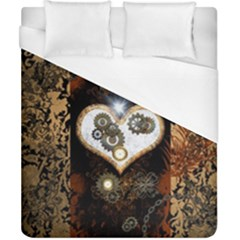 Steampunk, Awesome Heart With Clocks And Gears Duvet Cover Single Side (double Size) by FantasyWorld7