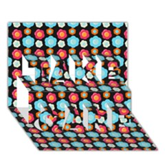 Colorful Floral Pattern Take Care 3d Greeting Card (7x5)  by creativemom