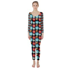 Colorful Floral Pattern Long Sleeve Catsuit by creativemom