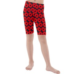 Charcoal And Red Peony Flower Pattern Kid s swimwear