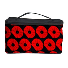 Charcoal And Red Peony Flower Pattern Cosmetic Storage Cases by creativemom