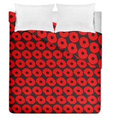 Charcoal And Red Peony Flower Pattern Duvet Cover (full/queen Size) by creativemom