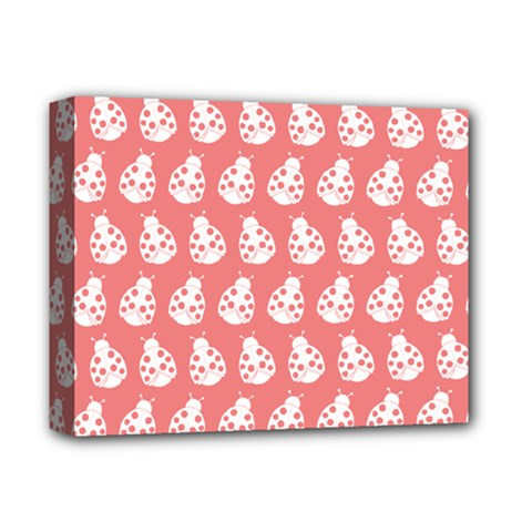 Coral And White Lady Bug Pattern Deluxe Canvas 14  X 11  by creativemom