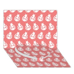 Coral And White Lady Bug Pattern Heart Bottom 3d Greeting Card (7x5)  by creativemom