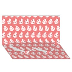 Coral And White Lady Bug Pattern Twin Heart Bottom 3d Greeting Card (8x4)